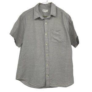 Gap cotton linen tshirt button down light grey
